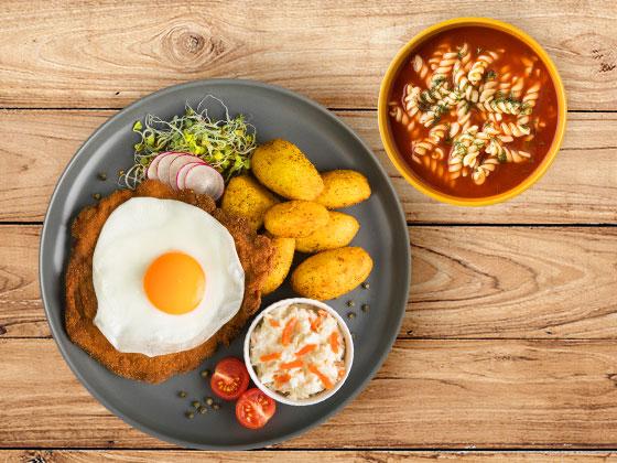 Zestaw Schabowy z jajem i zupą