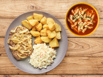 Zestaw Rumsztyk wołowy z cebulką i zupą